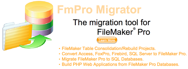 FmPro Migrator - The migration tool for FileMaker Pro. FileMaker Table Consolidation Projects, Bento, Access SQL Server to FileMaker, FileMaker to SQL Databases.