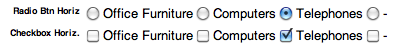 Horizontal Radio Buttons and Checkboxes